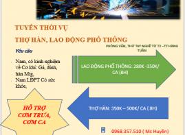 TUYỂN GẤP THỢ HÀN, LAO ĐỘNG PHỔ THÔNG LÀM VIỆC TẠI HƯNG - VĨNH HƯNG JSC
